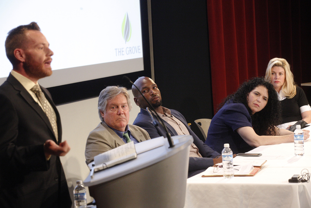 "John Hudak speaks at the panel event ""Breaking Barriers to Medical Marijuana Research"" as Nevada State Sen. Tick Segerblom, from left, Eugene Monroe, Dr. Sue Sisley, and Nevada State Sen. Patricia ..."