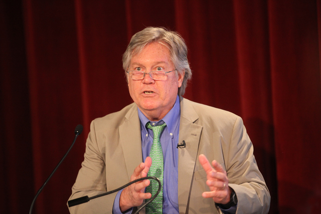 "Nevada State Sen. Tick Segerblom speaks at the panel event ""Breaking Barriers to Medical Marijuana Research"" in the Greenspun School of Journalism Auditorium at UNLV on Wednesday, May 25, 2016. Ra ..."