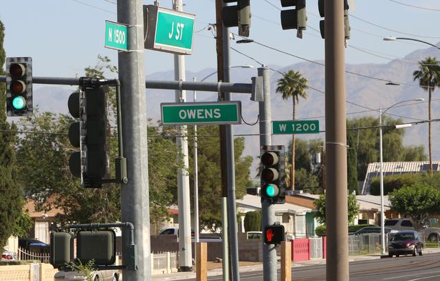 A Las Vegas Metro police car was involved in a minor injury crash near J Street and Owens Avenue on Monday, May 23, 2016. Bizuayehu Tesfaye/Las Vegas Review-Journal Follow @bizutesfaye