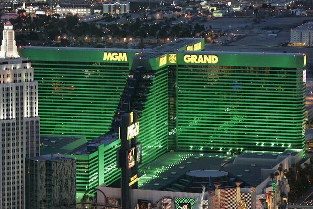 Exterior --aerial photo -- of the MGM Grand hotel-casino is shown from the M Resort Blimp on Wednesday, March 18, 2009. (Duane Prokop/Las Vegas Review-Journal)