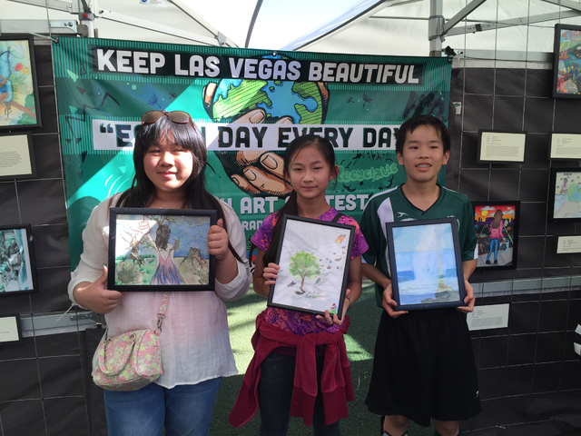 From left are middle school winners of the Keep Las Vegas Beautiful program's Earth Day Every Day Youth Art and Essay Contest Kailene Zapanta, Jasmine Chung and Andrew Chang. Special to View