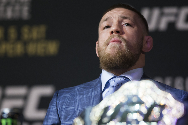 UFC fighter Conor McGregor looks on during the UFC 196 press conference at the MGM Grand casino-hotel on Thursday, March 3, 2016, in Las Vegas. (Erik Verduzco/Las Vegas Review-Journal) Follow @Eri ...