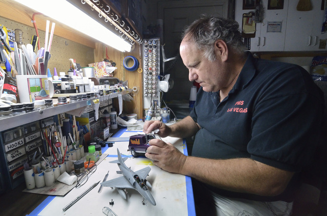 Joe Porche, a member of the Las Vegas chapter of the International Plastic Modelers Society, works on a model in his home workshop in Las Vegas on Wednesday, May 4, 2016. Bill Hughes/Las Vegas Rev ...