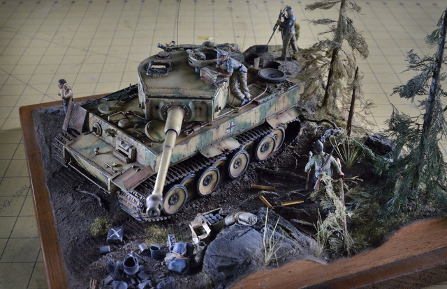 A World War II Tiger tank diorama built by Bob Lomassaro is shown during a meeting of the Las Vegas chapter of the International Plastic Modelers Society at the home of society member Joe Porche i ...