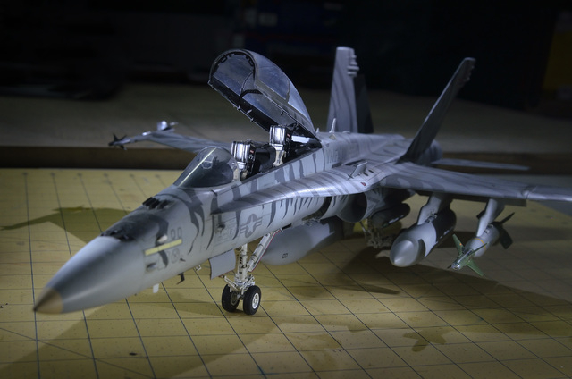 A model of an A/F-18 Hornet built by Joe Porche is shown during a meeting of the Las Vegas chapter of the International Plastic Modelers Society at his home in Las Vegas on Wednesday, May 4, 2016. ...