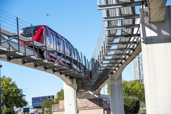 A Las Vegas Monorail arrives at the station at the Westgate hotel-casino in Las Vegas on Friday, Nov. 13, 2015. (Joshua Dahl/Las Vegas Review-Journal)