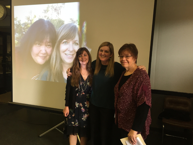 The May 1 celebration of life for Lisa Kim Bach, pictured left on the screen, included tributes from three friends, left to right, Natalie Burt, Carri Geer Thevenot and Jane Ann Morrison.  Photo t ...