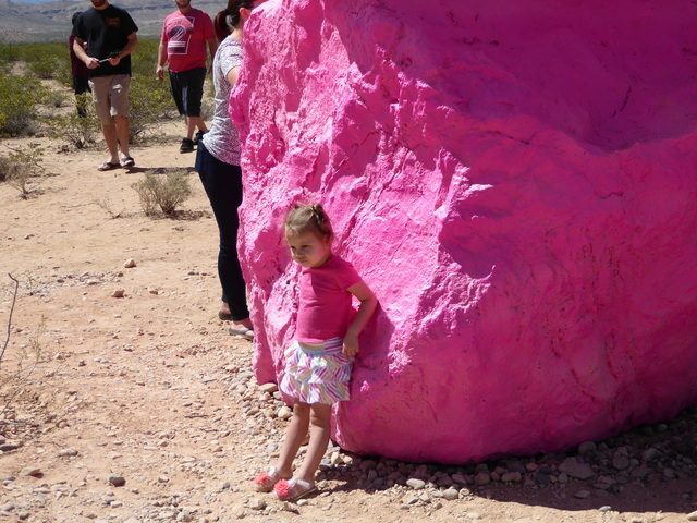 A girl explores the area at Seven Magic Mountains near Jean, Nev. on Sunday, May 22, 2016. (Jane Ann Morrison/Las Vegas Review-Journal)