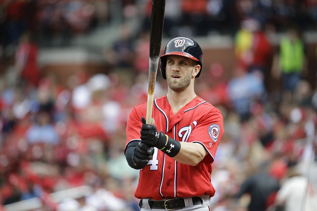 9373d44a3 Washington Nationals' Bryce Harper bats during the eighth inning of a  baseball game against the