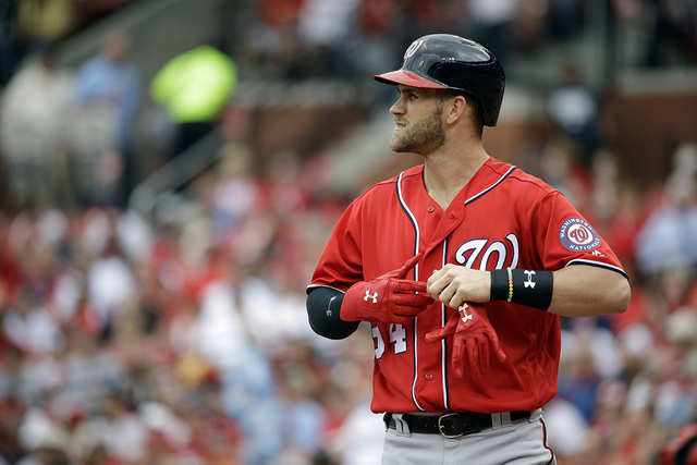 cc80bbcd4 Washington Nationals' Bryce Harper after striking out during the first  inning of a baseball game