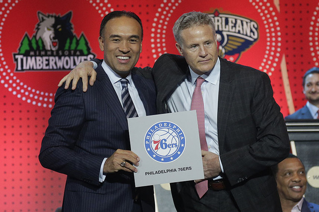 NBA deputy commissioner Mark Tatum, left, poses for a photo with Philadelphia 76ers head coach Brett Brown during the NBA basketball draft lottery, Tuesday, May 17, 2016, in New York. The 76ers wo ...