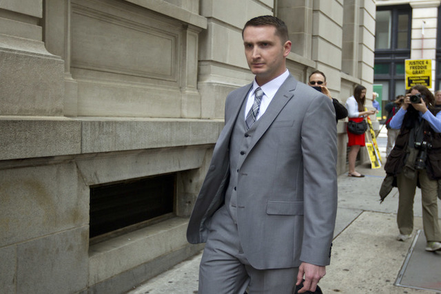 Officer Edward Nero, one of six Baltimore city police officers charged in connection to the death of Freddie Gray, arriving at a courthouse at the beginning of his trial in Baltimore Md. (Jose Lui ...