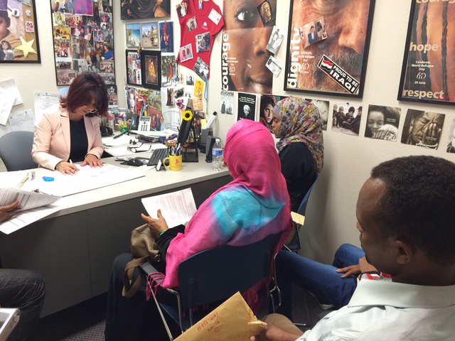 Newly resettled refugees attend an orientation class at Catholic Charities of Southern Nevada, 1501 Las Vegas Blvd. North. (Special to View)