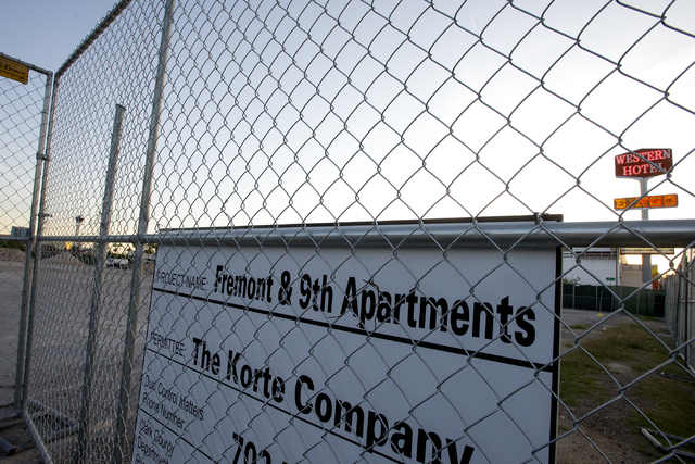 The site where Wolff Company and 901 Fremont, LLC plan to build a mixed-use, multifamily residential project is shown May 12, 2016, at the intersection of Fremont and 9th Street in downtown Las Ve ...