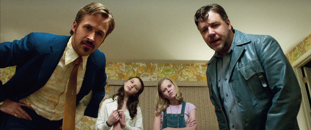 Photo Credit: Courtesy of Warner Bros. Pictures  Caption: (L-r) RYAN GOSLING as Holland March, DAISY TAHAN as Jessica, ANGOURIE RICE as Holly and RUSSELL CROWE as Jackson Healy in Warner Bros. Pic ...