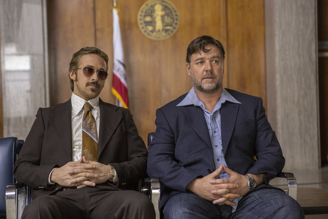 "Photo Credit: Daniel McFadden  Caption: (L-r) RYAN GOSLING as Holland March and RUSSELL CROWE as Jackson Healy in Warner Bros. Pictures' action comedy ""THE NICE GUYS,"" a Silver Pictures production ..."