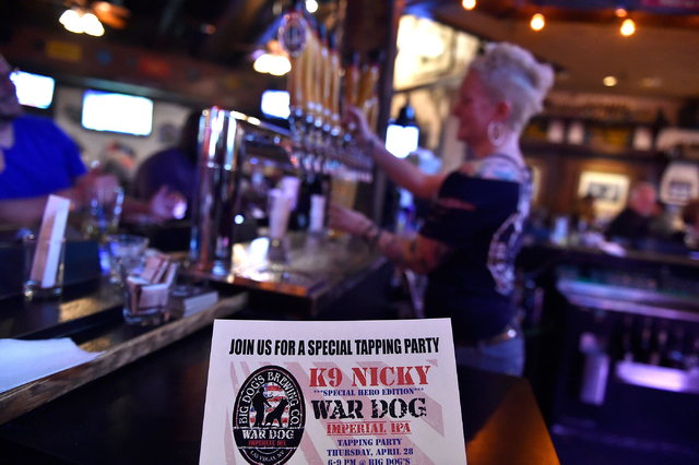 A flier is displayed for a special beer to be created honoring K-9 Nicky at the Draft House Friday, April 15, 2016, in Las Vegas. (David Becker/Las Vegas Review-Journal) Follow @davidjaybecker