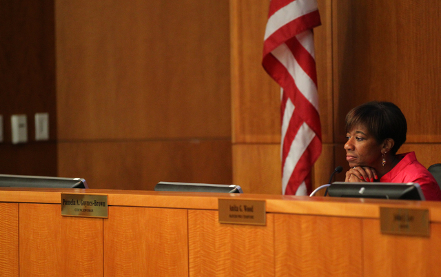 North Las Vegas Councilwoman Pamela Goynes-Browne listens during an agenda during a city council meeting at North Las Vegas City Hall on Wednesday, May 20, 2015. (Chase Stevens/Las Vegas Review-Jo ...
