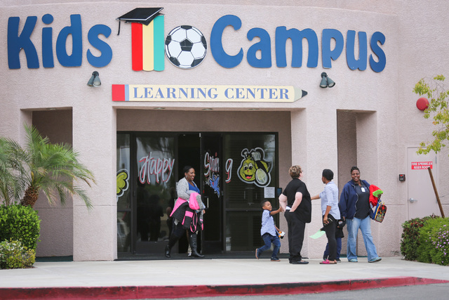 Families pick up their children from Kids Campus Learning Center in North Las Vegas on Friday, May 6, 2016. On Thursday, police say Travis Spitler shot and killed his ex-girlfriend Christina Frank ...