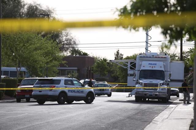 North Las Vegas police investigate a fatal shooting at a day care center at Martin Luther King Boulevard and Ramble Ridge Way on Thursday, May 5, 2016. (Brett Le Blanc/Las Vegas Review-Journal Fol ...