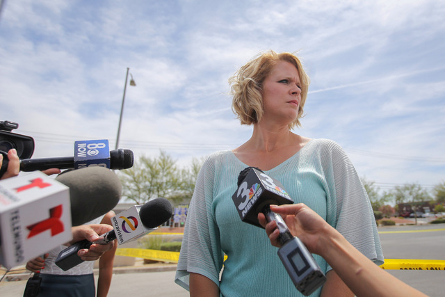 North Las Vegas police spokeswoman Ann Cavaricci speaks to the media at the scene of a fatal shooting at a day care center at Martin Luther King Boulevard and Ramble Ridge Way on Thursday, May 5,  ...
