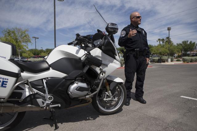 Traffic officer Bob Kryszczuk speaks on his new BMW 1200 RTP motorcycle at the North Las Vegas Police Headquarters on Wednesday, May 4, 2016, in North Las Vegas. Erik Verduzco/Las Vegas Review-Jou ...