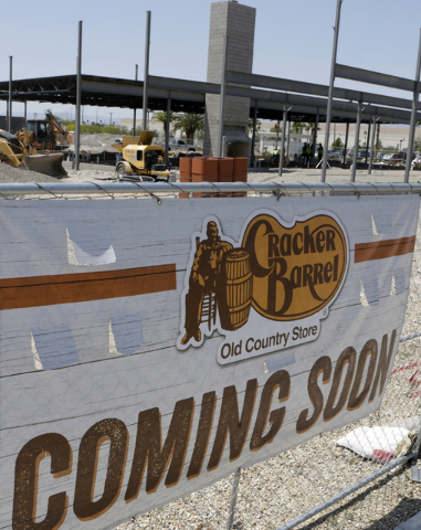 The coming soon sign is shown at the Cracker Barrel Old Country Store construction site at 2815 E. Craig Road on Monday, May 23, 2016, in North Las Vegas. Bizuayehu Tesfaye/Las Vegas Review-Journa ...