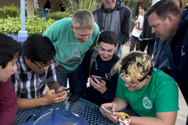 Shadow Ridge High School principal Travis check in with students during their lunch May 6, 2016. Warnick was named a finalist of Varsity Brands 2016 School Spirit Awards Principal of Principle awa ...