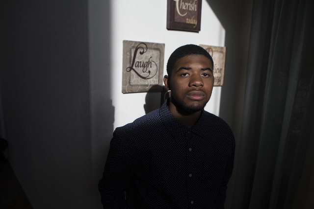 Johnathan Hampton poses for a portrait at his North Las Vegas home on Wednesday, May 25, 2016. Hampton is among those who will not get to graduate on-time  because he failed the math proficiency t ...