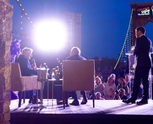 Crooner Tony Bennett was honored on the Brooklyn Bridge at New York-New York on Thursday. From left: Bennett, Larry Ruvo and emcee Mark Shunock (Norm Clarke/Las Vegas Review-Journal)