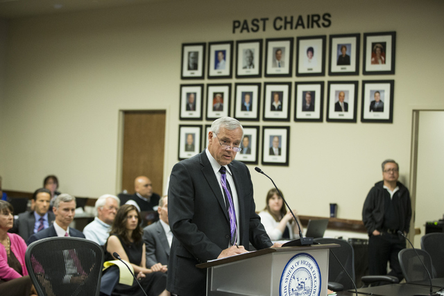 Chancellor Dan Klaich speaks during a special meeting by the Board of Regents at the Nevada System of Higher Education on Thursday, May 12, 2016, in Las Vegas. Erik Verduzco/Las Vegas Review-Journ ...