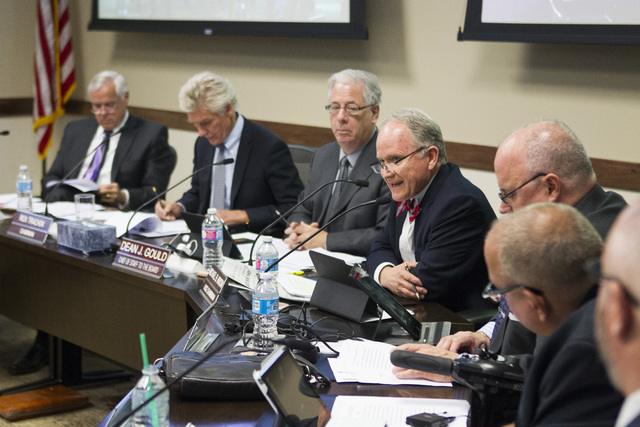 Michael Wixom, vice chairman of the Board of Regents, speaks during a special meeting at the Nevada System of Higher Education offices on Thursday, May 12, 2016, in Las Vegas. The meeting was call ...