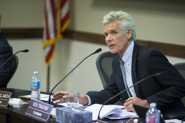 Rick Trachok, chairman of the Board of Regents, speaks during a special meeting at the Nevada System of Higher Education offices on Thursday, May 12, 2016, in Las Vegas. The meeting was called fol ...