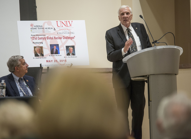 """Dr. C. Paul Robinson, president emeritus and director of Sandia Laboratories, presents on a panel discussion presented by the National Atomic Testing Museum titled """"21st Century Global Nuclear Cha ..."""