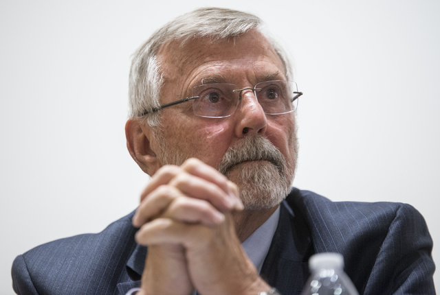 Dr. Robert Kuckuck, former director of Los Alamos National Laboratory, presents on a panel discussion presented by the National Atomic Testing Museum. (Jacob Kepler/Las Vegas Review-Journal)