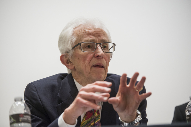 Dr. Siegfried Hecker, director of the Los Alamos National Laboratory and research professor at Stanford University, presents on a panel discussion presented by the National Atomic Testing Museum t ...