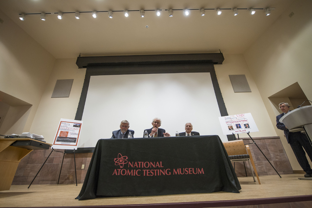 From left, Dr. Robert Kuckuck, former director of Los Alamos National Laboratory, Dr. C. Paul Robinson, president emeritus and director of Sandia Laboratories, and Dr. Siegfried Hecker, director o ...