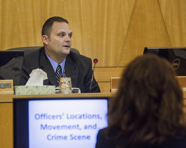 Detective Ryan Jaeger of the Las Vegas police investigation team answers questions during a fact-finding review in the July 2015 police shooting death of James Todora, Friday, May 20, 2016, at the ...