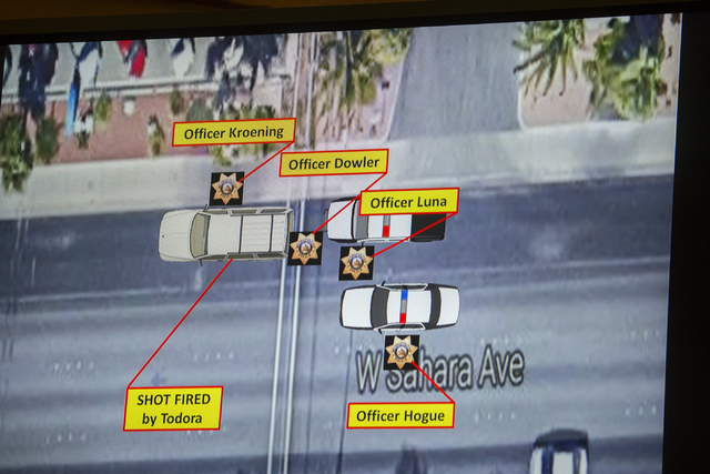 A video screen diagram is seen, Friday, May 20, 2016, during a fact-finding review in the July 2015 officer-involved shooting death of James Todora at the Clark County Government Center. (Jeff Sch ...