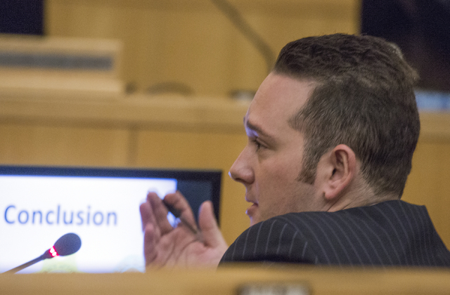 Ombudsman Michael Troiano speaks during a fact-finding review on the July 2015 police shooting of James Todora, Friday, May 20, 2016, at the Clark County Government Center. (Jeff Scheid/Las Vegas  ...