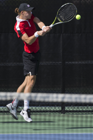 UNLV's Richard Solberg hits the ball during the Mountain West Conference men's tennis championship at UNLV's Fertitta Tennis Complex in Las Vegas Sunday, May 1, 2016.  (Jason Ogulnik/Las Vegas Rev ...