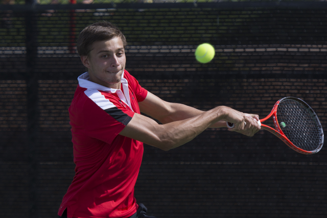 UNLV's Alexandr Cozbinov hits the ball during the Mountain West Conference men's tennis championship at UNLV's Fertitta Tennis Complex in Las Vegas Sunday, May 1, 2016.  (Jason Ogulnik/Las Vegas R ...