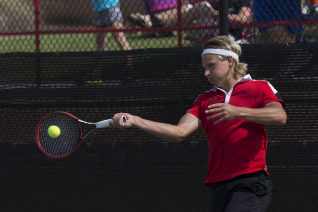UNLV's Jakob Amilon hits the ball during the Mountain West Conference men's tennis championship at UNLV's Fertitta Tennis Complex in Las Vegas Sunday, May 1, 2016.  (Jason Ogulnik/Las Vegas Review ...