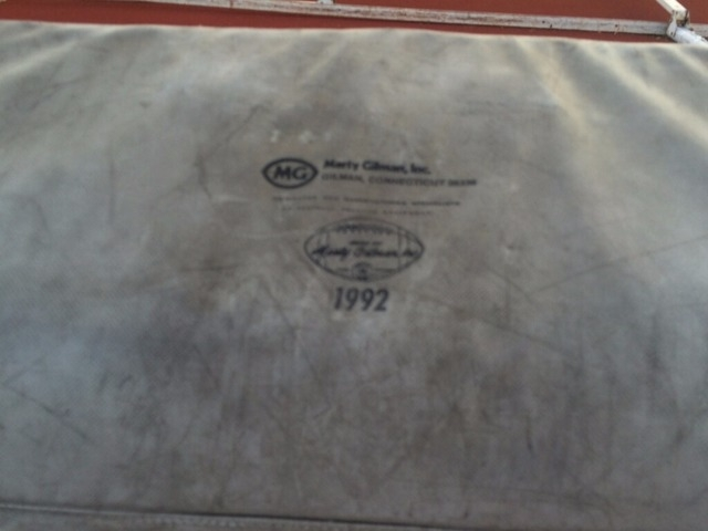 A pad on the blocking sled at Valley High shows both wear and old age - it was manufactured in 1992. (Courtesy George Baker)