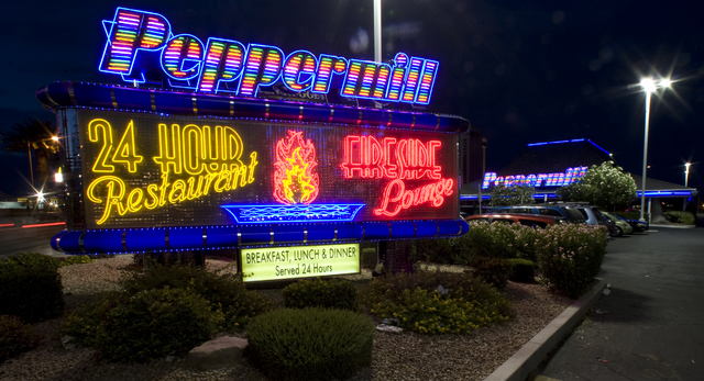 Exterior, the marquee for the Peppermill restaurant and Fireside Lounge at 2985 Las Vegas Blvd. South is shown, Saturday, Aug. 22, 2009. (K.M. Cannon/Las Vegas Review-Journal)