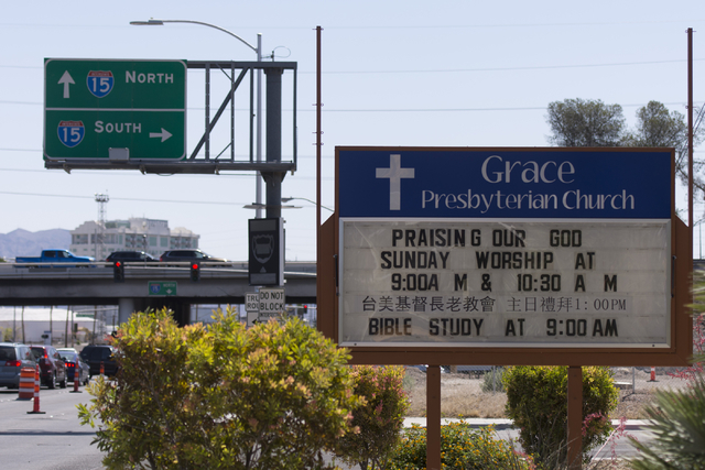 The sign for Grace Presbyterian Church on Charleston Boulevard near I-15 in Las Vegas is seen Sunday, May 22, 2016. Jason Ogulnik/Las Vegas Review-Journal