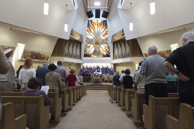 The choir sings during services in the sanctuary at Grace Presbyterian Church at 1515 W. Charleston Blvd. in Las Vegas Sunday, May 22, 2016. Jason Ogulnik/Las Vegas Review-Journal