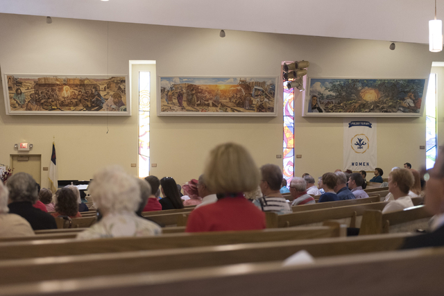 Artwork by Roy Purcell lines the walls of the sanctuary during services at Grace Presbyterian Church at 1515 W. Charleston Blvd. in Las Vegas Sunday, May 22, 2016. Jason Ogulnik/Las Vegas Review-J ...