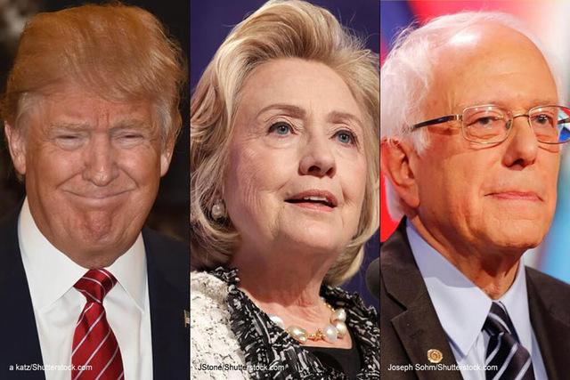 Donald Trump, Hillary Clinton and Bernie Sanders (Shutterstock.com)