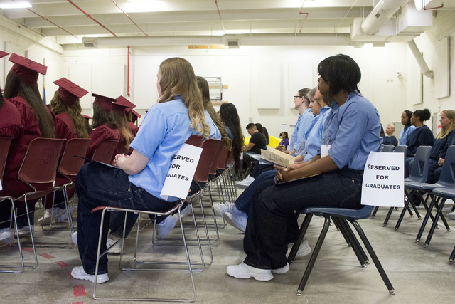 Inmates fill rows after receiving various recognitions, from vocational certificates to bachelor's degrees, during Florence McClure Women's Correctional Center's graduation ceremony in Las Vegas o ...
